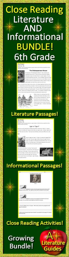 6th Grade Close Reading Informational AND Literature Bundle!  Passages plus Close Reading Activities.  Growing Bundle - Buy now while price is still low!