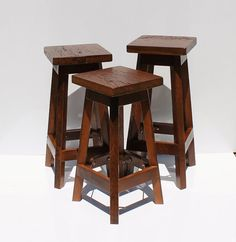 Bar Stool - Rustic Reclaimed Barn Wood (Finshed-Burnt Umber) w/Square Top - Tall Rustic Bar Stools, Tall Stools, Reclaimed Barn Wood, New Homes, Indoor, Table, Furniture, Kitchen, Home Decor
