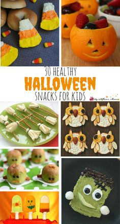 30 Healthy Halloween Snacks for Kids. Healthy Halloween Ideas to avoid the sugar highs and crashes while still having fun this Halloween, these cute Halloween snacks will be a hit in the kids' lunchboxes, or at the Halloween party
