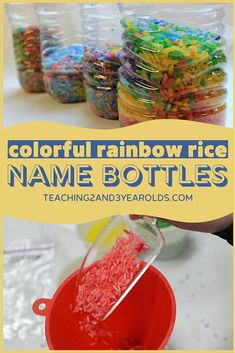 This preschool name recognition activity involves making a discovery bottle with rainbow rice and letter beads. Sorting and placing the beads in the bottle not only reinforces letter recognition, but it's also a fun fine motor activity as well! #preschool #name #activity #literacy #alphabet #discoverybottle #teaching2and3yearolds All About Me Preschool Theme, Preschool Names, Letter Activities, Motor Activities, Preschool Activities, Preschool Name Recognition, Letter Recognition, Rainbow Rice, Discovery Bottles