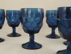 Viking Glass Georgian Smoky Charcoal Blue Goblets Glasses Blue Drinking Glasses, Viking Glass, Antiques Online, My Glass, Carnival Glass, Glass Collection, Antique Glass, Vintage Colors, Georgian