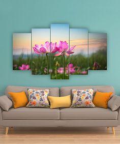 Look at this #zulilyfind! Lotus Flowers Five-Panel Wall Art #zulilyfinds