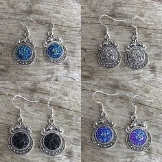 Earrings - Glitter - Druzy - Resin - Cabochon - Vintage - Victorian - New Age - Boho - Hippe - Goth - Folk - Wicca - Pagan by Nattspinnas on Etsy
