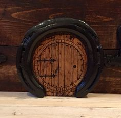 Pyrographed Horseshoe and pallet fairy door