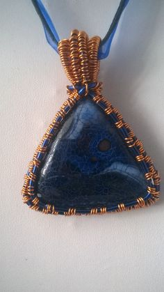 Handmade Wire wrapped Copper and Gemstone Pendant, Sodalite handmade pendant…