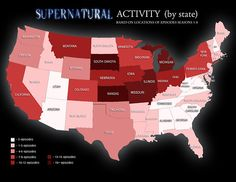 Supernatural Activity by state. Some crap goes down in Indiana
