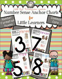 Number Sense Anchor Charts For Little Learners: multiple representations, easy to read, number formation poems and practice pages. Kindergarten Anchor Charts, Math Anchor Charts, Numbers Kindergarten, Math Numbers, Preschool Math, Math Classroom, Teaching Math, Classroom Ideas, Numbers Preschool