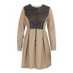 Dress coat with pleather bib Stone/Beige Box Pleat Skirt, Box Pleats, Pleated Skirt, Coat Dress, Branding Design, Dressing, Feminine, Beige, Pure Products