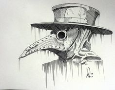 Birds of plague - ballpoint cross hatch