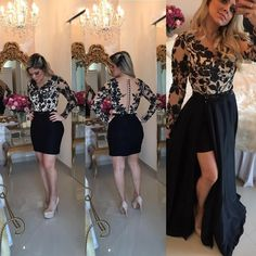Sexy Black Lace Long Sleeve Prom Dress 2018 Sheer Button Back Detachable Removable Skirt Indian Floral Evening Gowns Black Evening Dresses, Chiffon Evening Dresses, Black Prom Dresses, Prom Dresses 2017, Short Dresses, Party Dresses, Dress Prom, Graduation Dresses, Indian Prom Dresses