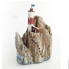 Статуэтки ручной работы. Ярмарка Мастеров - ручная работа. Купить Остров 'В бушующем море' маяк на скале, дрифтвуд-арт. Handmade.