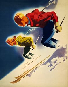 Man and woman skiing. Vintage skiing poster showing a man and woman on the slopes. Used for Jantzen skiwear ad, 1943. Illustrated by Joseph Binder.