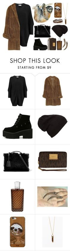 """""""Spirit Animals (Sloth)"""" by ubiquitous-merkaba ❤ liked on Polyvore featuring American Vintage, Mark Cross, MICHAEL Michael Kors, The Merchant Of Venice, Casetify, Sif Jakobs Jewellery, sososspirits and ubispirits"""