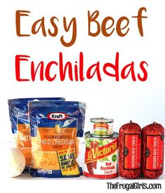 Easy Beef Enchiladas Recipe! ~ from TheFrugalGirls.com ~ this Enchilada Recipe is so simple to make and crazy delicious. The perfect weeknight dinner!