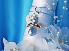Something Blue Bouquet Charm Swarovski Lt Blue Pearl and Crystal Heart