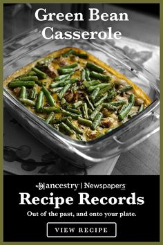Ancestry's Recipe Records are a wonderful way to try out historical dishes and see what sticks—but n Sprout Recipes, Vegetable Recipes, Vegetarian Recipes, Cooking Recipes, Healthy Recipes, Chicken Recipes, Greenbean Casserole Recipe, Vegetable Casserole, Green Bean Casserole