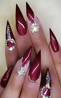 Best Winter Nails Red Colors For Long Nails Art Designs - Joan Wong Sexy Nails, Dope Nails, Fancy Nails, Bling Nails, Summer Acrylic Nails, Cute Acrylic Nails, Beautiful Nail Designs, Cute Nail Designs, Stylish Nails