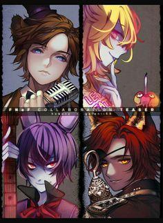 Freddy, Bonnie, Foxy, Chica, human form, Anime boys, girl, text, microphone, guitar; Five Nights at Freddy's