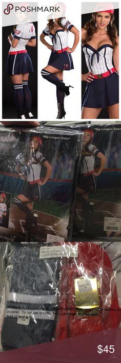 Big League Babe Baseball Costume 5 piece set: dress with lightly padded underwire cups, shrug, belt, hat, athletic knee socks.  Small 90-120lbs. Medium 120-140lbs. Large 140-160lbs. Dreamgirl Dresses Mini