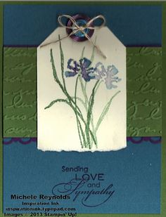Handmade sympathy card by Michele Reynolds, Inspiration Ink, using Stampin' Up! products - Love & Sympathy Set, Designer Buttons, Linen Thread, and Scallop Trim Border Punch.