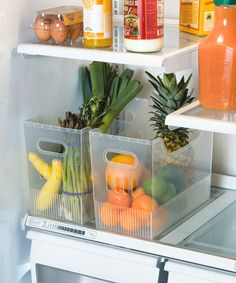 What a great idea! Bins used to organize your fridge!