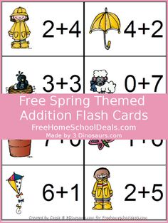 In these printables your are going to find addition cards for 1 to 10. There are 8 cards per page. There are 8 pages total.They match up perfectly with the Spring Learning Pack.