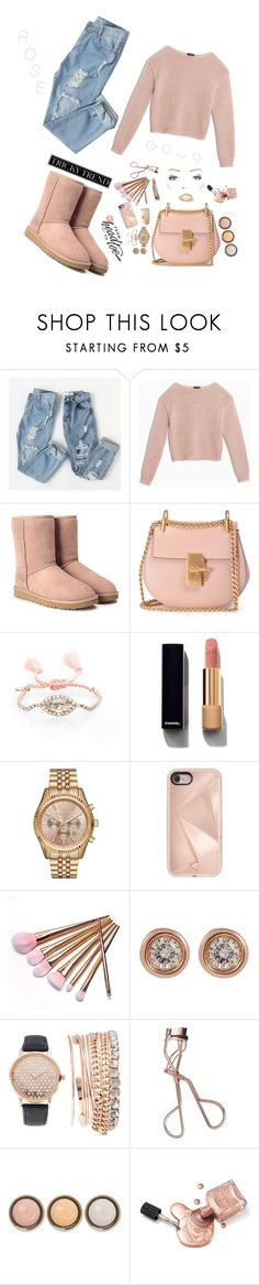 """""""Rose :Gal"""" by pretty-posh-luxe ❤ liked on Polyvore featuring Max&Co., UGG, Chloé, Chloe + Isabel, Chanel, Michael Kors, Rebecca Minkoff, Ron Hami, Jessica Carlyle and Charlotte Tilbury"""