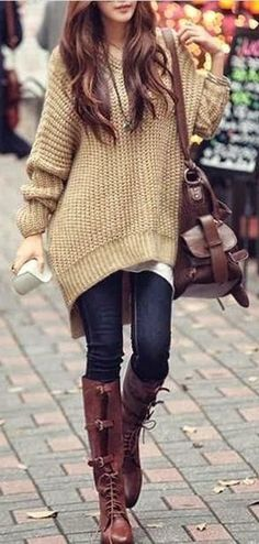 #fall #fashion / de punto de gran tamaño + botas