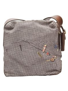 Houndstooth shoulder bag from Paul Smith featuring a black houndstooth print and brown leather trim. Has an adjustable shoulder strap, top zip closure, purple lining, and a single internal zip pocket. Measures 9