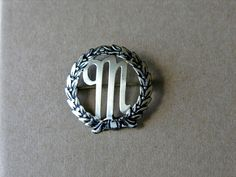 Silver M Initial Brooch Circle Pin Personalized by veraviola, $15.00