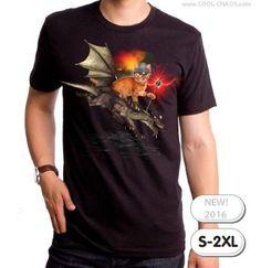 Dragon Rider Cat T-Shirt / Funny Tabby Kitten Warrior Tee