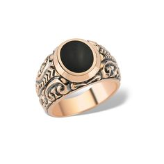 Inelul din aur roz este o reprezentare a masculinității prin designul impunător și sofisticat.  #menring #menjewellery #gold #rosegold #black #ring #giftidea #mengift Aur, Gemstone Rings, Gemstones, Jewelry, Fashion, Moda, Jewlery, Gems, Jewerly