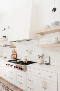 Home Decor Kitchen White kitchen with open shelving - Studio McGee.Home Decor Kitchen White kitchen with open shelving - Studio McGee Kitchen Vent Hood, Kitchen Nook, Kitchen Shelves, Home Decor Kitchen, Rustic Kitchen, Interior Design Kitchen, New Kitchen, Home Kitchens, Kitchen Ideas