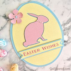 Free Silhouette & SVG Cutting Files for Easter Egg Shaped Easter Card with Bunny Silhouette. Diy Projects Easter, Easter Crafts, Easter Bunny, Easter Eggs, Egg Card, Easter Wishes, Bee Crafts, Crafts To Make And Sell, Crafts For Teens