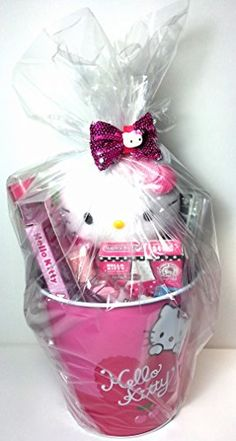 Hello Kitty Gifts, Hello Kitty Items, Bff Birthday, Birthday Gifts, Cube Gum, Mickey Drawing, Girl Gift Baskets, Easter Buckets, Birthday Chocolates