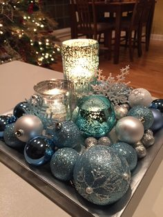 Christmas centerpieces ideas for new season 12 ~ Popular Living Room Design Rose Gold Christmas Decorations, Turquoise Christmas, Christmas Centerpieces, Xmas Decorations, Christmas Wreaths, Christmas Crafts, Teal Christmas Tree, Christmas Ideas, Christmas Villages