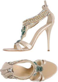 Giuseppe Zanotti Gold Beaded Rhinestone Sandal #Shoes #Heels #Bejeweled