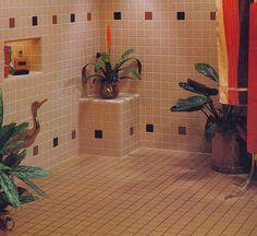 Creating a Tropical Bathroom on a Budget 80s Interior Design, 80s Design, Exterior Design, Interior And Exterior, Interior Decorating, Tropical Bathroom, Vintage Interiors, Decoration, Interior Architecture