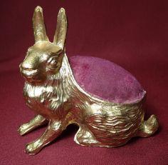 Antique Spelter Metal Rabbit Sewing Pincushion Pin Cushion Marked USA Estate | eBay