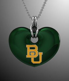 #Baylor Green Heart Pendant #SicEm