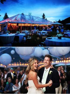 clear tenting with string lights and japanese lanterns