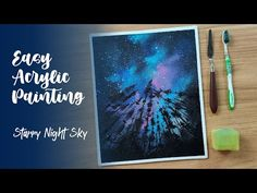 Painting Without Paint Brush #1 | Starry Night Sky Painting | Milky Way Galaxy | Easy Painting - YouTube Starry Night Sky, Night Skies, Night Sky Painting, Acrylic Canvas, Easy Paintings, Milky Way, Paint Brushes, Youtube, Makeup Brushes