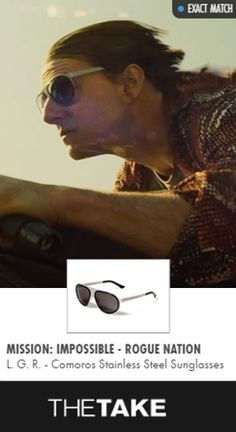 L. G. R. Comoros Stainless Steel Sunglasses as seen on Ethan Hunt in Mission: Impossible - Rogue Nation | TheTake.com