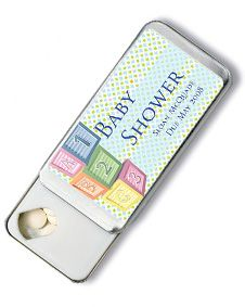Blue ABC Blocks Design Personalized Slide Mint Tin Favors. http://www.bluerainbowdesign.com/WeddingFavorProduct.aspx?ProductID=PR071609174123JABCwSKelitoBRD11413=Pinterest