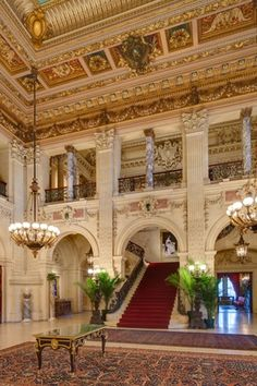"The Breakers - Newport, RI - a Vanderbilt ""summer cottage"" ... toured twice in May, 2013. Because as this image of the 'entry hall' reveals ... one visit not enough to take in all the grandeur!"