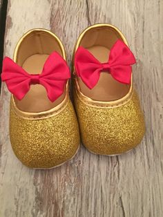 FREE SHIPPING infant shoes glitter gold shoes by MelihsBoutique
