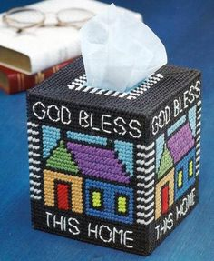 Plastic Canvas Pattern God Bless This Home Tissue Box Cover   eBay