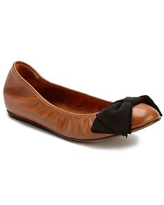LANVIN Bow Leather Ballet Flat