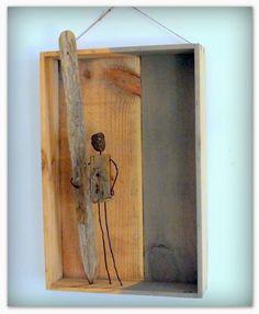 Mutoz inc. Art en bois flotté: Sea fog; création en bois flotté, métal et pierre ponce. Upcycling