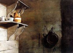 Andrew Wyeth (1917 — 2009, USA)  Quill and Drill. c. 1986 watercolor.12 x 9.25 in. (30.48 x 23.5 cm.)